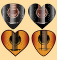 set of stylish colored plectrums for guitar vector image vector image