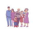 sketch big family character hugging at home vector image vector image