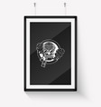 sketch hipster skull with beard vector image vector image