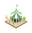 striped circus tent isometric 3d element vector image vector image