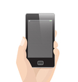 Vertical Smart Phone with hand holding vector image vector image