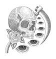vintage skull eye death vector image vector image