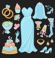 wedding traditional attributes in light blue vector image vector image