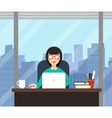 Woman with laptop in office room with big window vector image vector image
