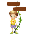 A kid standing at the back of a signboard vector
