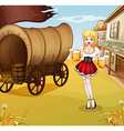 A sexy waitress beside the wagon vector image vector image