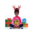 african american woman deer horns sitting lotus vector image vector image