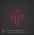 arrow outline symbol red on dark background logo vector image vector image