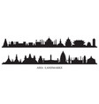 asia skyline landmarks silhouette vector image vector image