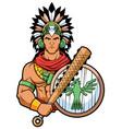 aztec warrior mascot vector image