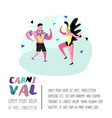 carnival poster with dancing character people vector image vector image