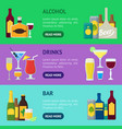 cartoon alcoholic beverages banner horizontal set vector image vector image