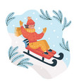 children on a sled ride with the mountain vector image