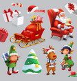 christmas and new year santa claus sleigh gifts vector image