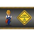 Constructor man cartoon under construction sign vector image vector image