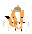 cute cartoon fox print vector image
