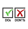 dos and donts yes and no sign vector image