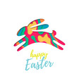 easter bunny colored paper cut in jump happy vector image