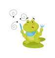funny green frog sitting on lotus leaf with knife vector image vector image