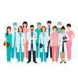 group of doctors and nurses standing together in vector image vector image