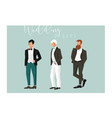 hand drawn abstract cartoon wedding groom vector image vector image