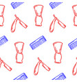 hand-drawn for barbershop seamless pattern vector image