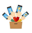 Hand Hold Touch Screen on Mobile Phone vector image