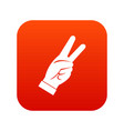hand showing victory sign icon digital red vector image