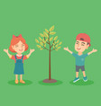 happy caucasian boy and girl jumping near the tree vector image