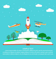 imagination concept reading open book with rocket vector image vector image