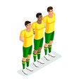isometric players football stand out men diffe vector image