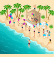 isometry dancing on beach party birthday vector image vector image