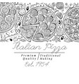italian pizza top view banner hand drawn vector image vector image
