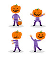 jack pumpkin lantern flat character set vector image vector image