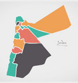 jordan map with states and modern round shapes vector image vector image