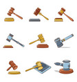 judge hammer icons set cartoon style vector image vector image