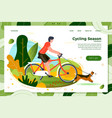 man riding on bike with dog vector image vector image