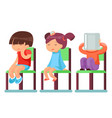 medical care sick children sitting on chairs vector image vector image