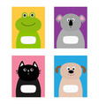 notebook cover cat dog frog koala bear zoo animal vector image vector image