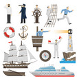 sailboat vessel attributes icons set vector image vector image