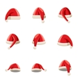 Santa Claus hat icons set cartoon style vector image vector image