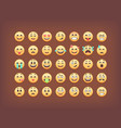 set of emoticons smileys icon pack emoj vector image