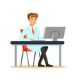 smiling young professor of computer science vector image vector image