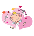 Stick Cupid In Front Of Hearts vector image