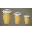 Three take-out coffee cups with caps vector image vector image