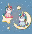 valentine card with two unicorns on a moon and vector image vector image