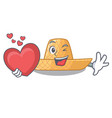 with heart straw hat in a wooden cartoon vector image