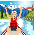 Young man in a raft boat crossing finish vector image vector image