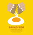 Broken Egg In Hand vector image