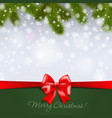 christmas tree branch on snowy background vector image